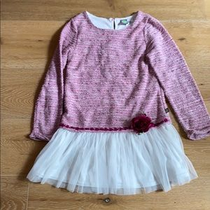 Dollie &  Me pink and white rose accent dress